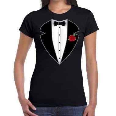 Gangster / maffia pak verkleedkleding t shirt zwart voor dames