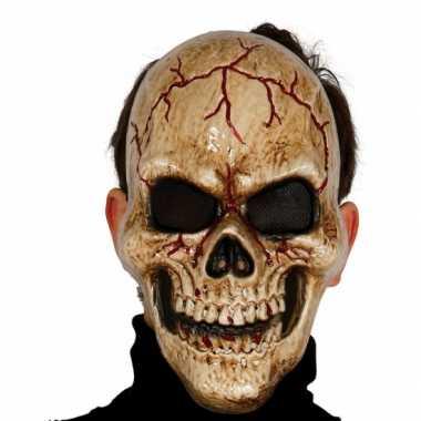 Gebarsten schedel masker voor skelet verkleedkleding