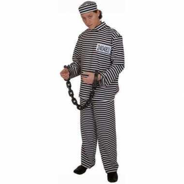 Gestreept gevangene verkleedkleding volwassene