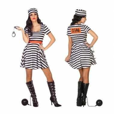 Gevangene/boef bonnie verkleed verkleedkleding/jurk voor dames