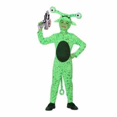 Groen alien verkleedkleding inclusief space gun voor kids