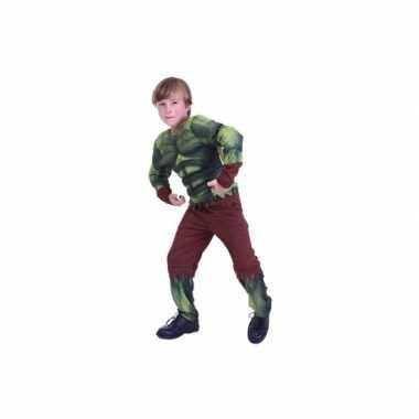 Groen gespierd monster verkleedkleding voor kids