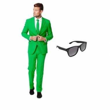 Groen heren verkleedkleding maat 46 (s) met gratis zonnebril