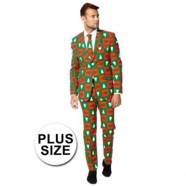 Grote maat feest verkleedkleding kerstbomen print