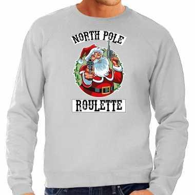 Grote maten foute kersttrui / verkleedkleding northpole roulette grijs voor heren
