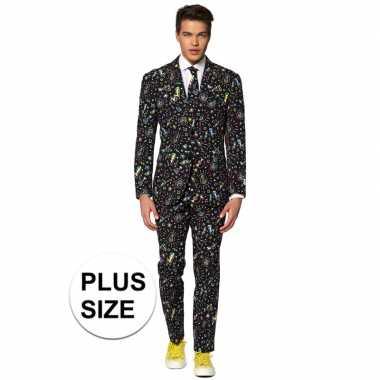Grote maten heren verkleed pak/verkleedkleding disco print