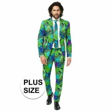 Grote maten heren verkleed pak/verkleedkleding jungle print