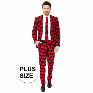 Grote maten heren verkleed pak/verkleedkleding rode hartjes print