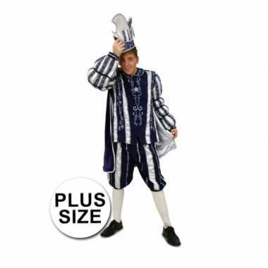 Grote maten prins carnaval verkleedkleding blauw/wit