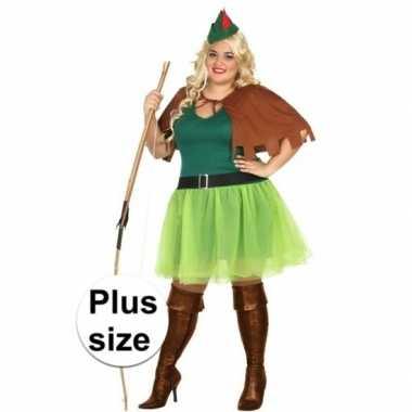 Grote maten robin hood verkleedkleding 4 delig voor dames