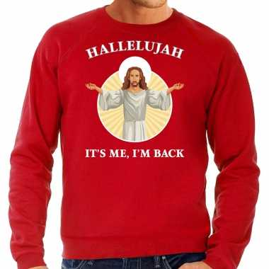 Hallelujah its me im back kerstsweater / verkleedkleding rood voor heren
