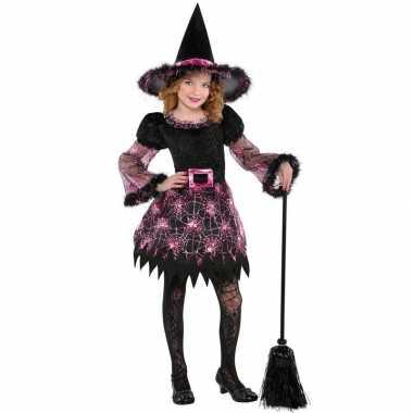 Halloween heksen verkleedkleding spinnenweb voor meisjes