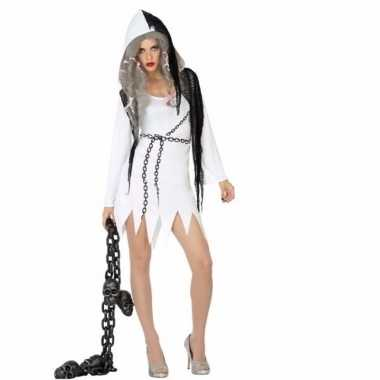 Halloween spook dames verkleedkleding wit met zwart