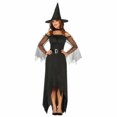Halloween zwarte lange heksen verkleedkleding voor dames