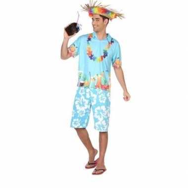 Hawaiiaanse blouse verkleed verkleedkleding blauw voor heren