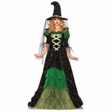 Heksen verkleedkleding groen met zwart