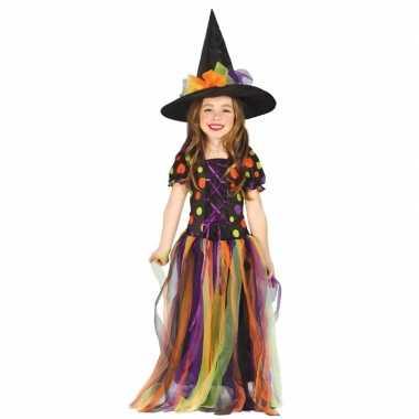 Heksen verkleedkleding rainbow voor meisjes