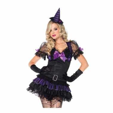 Heksen verkleedkleding zwart paars voor dames