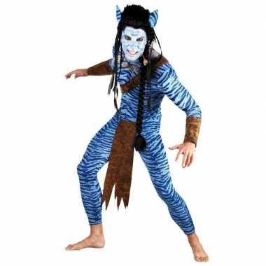 Heren blauwe jungle strijder verkleedkleding