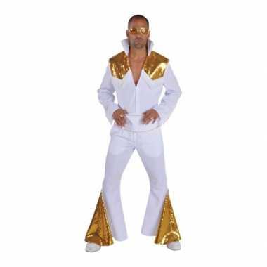 Heren elvis verkleedkleding wit met goud