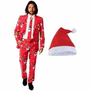 Heren opposuits kerst verkleedkleding rood met kerstmuts maat 50 (l)