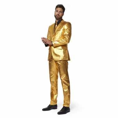 Heren verkleed pak/verkleedkleding metallic goud met stropdas