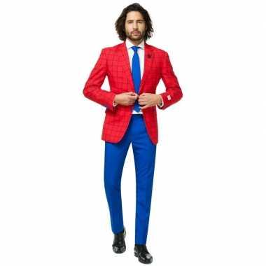 Heren verkleed pak/verkleedkleding spiderman print