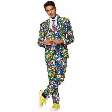 Heren verkleed pak/verkleedkleding super mario print