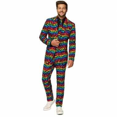 Heren verkleed pak/verkleedkleding zebra regenboog print