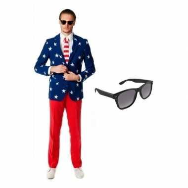 Heren verkleedkleding met amerikaanse vlag print maat 52 (xl) met gra