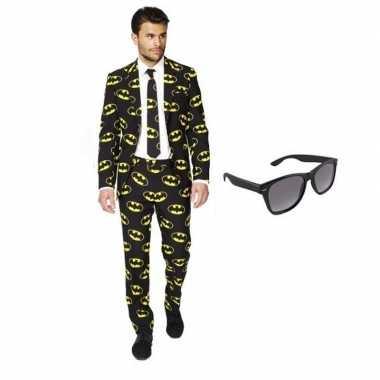 Heren verkleedkleding met batman print maat 50 l met gratis zonnebri