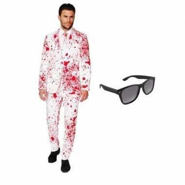 Heren verkleedkleding met bloed print maat 52 (xl) met gratis zonnebr