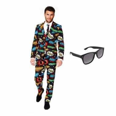 Heren verkleedkleding met comic print maat 48 (m) met gratis zonnebri