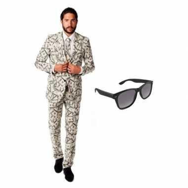 Heren verkleedkleding met dollar print maat 48 (m) met gratis zonnebr