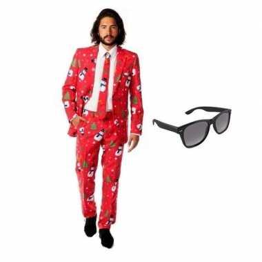Heren verkleedkleding met kerst print maat 52 (xl) met gratis zonnebr