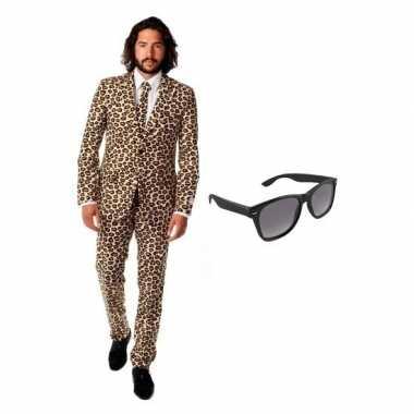 Heren verkleedkleding met luipaard print maat 50 l met gratis zonnebri