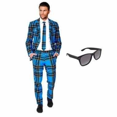Heren verkleedkleding met schotse print maat 46 (s) met gratis zonneb