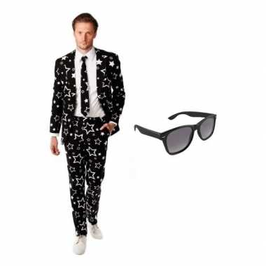 Heren verkleedkleding met sterren print maat 46 (s) met gratis zonneb