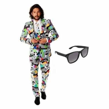 Heren verkleedkleding met televisie print maat 54 (2xl) met gratis zo