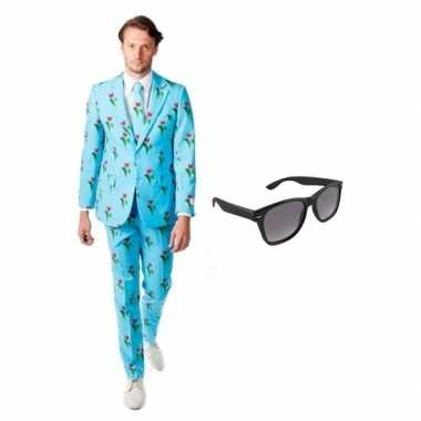 Heren verkleedkleding met tulpen print maat 50 (l) met gratis zonnebr