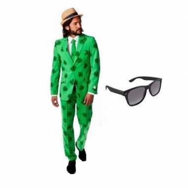 Heren verkleedkleding sint patricks day maat 50 (l) met gratis zonneb