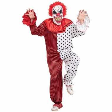 Horror clown verkleedkleding met masker rood/wit