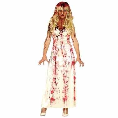 Horror verkleedkleding lange bloederige witte jurk