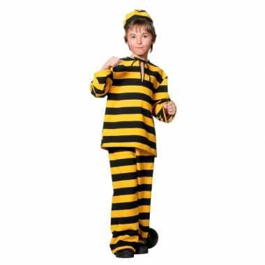 Inbreker verkleedkleding zwart/geel voor kinderen