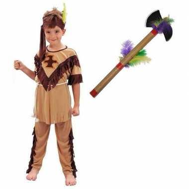 Indianen verkleedkleding maat l met tomahawk voor kinderen