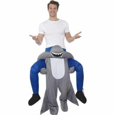 Instap dierenpak verkleedkleding haai voor volwassenen
