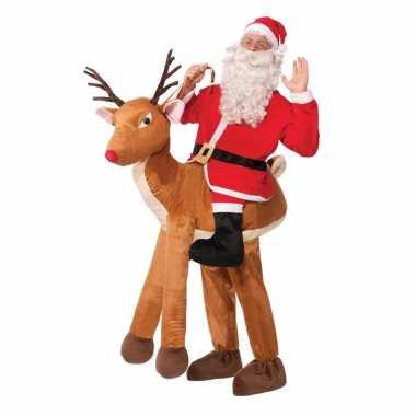 Instapverkleedkleding kerstman op rendier voor volwassenen