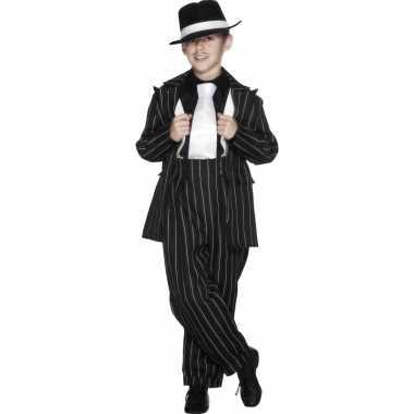 Jongens gangster verkleedkleding zwart