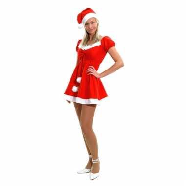 Kerstjurk met muts verkleedkleding goedkoop