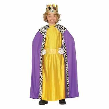 Koning mantel paars met geel verkleedverkleedkleding voor kinderen